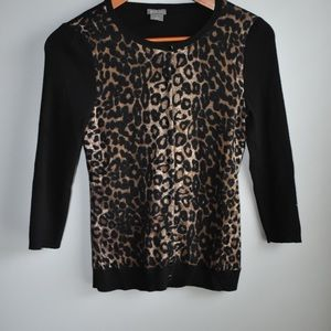 Ann Taylor leopard and black thin sweater